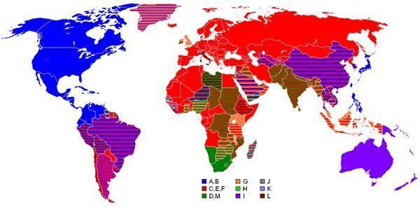 世界各国电压标准与插头类型